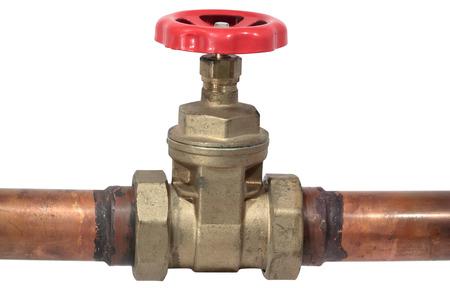 copper pipe: Red valve on copper  pipe Stock Photo