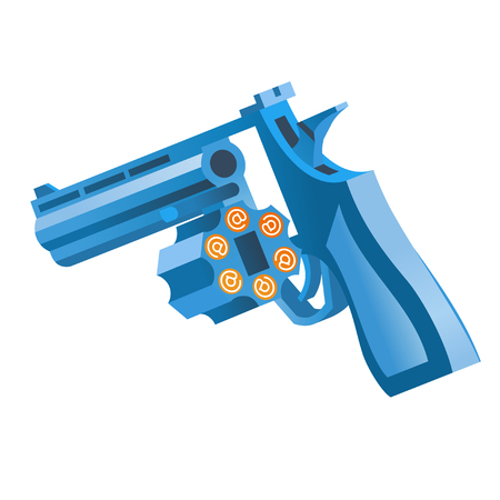 the blue revolver, with opened by a drum