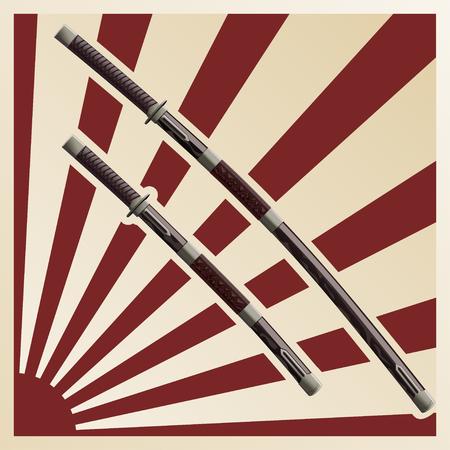 samurai swords in a sheath against the background of the sun