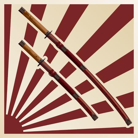 samurai swords in a sheath against the background of the sun Ilustração Vetorial