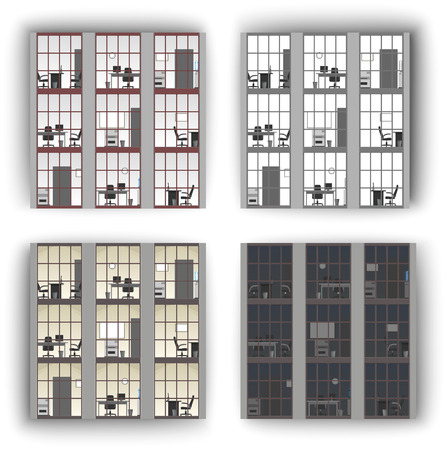 windows, pattern, office windows
