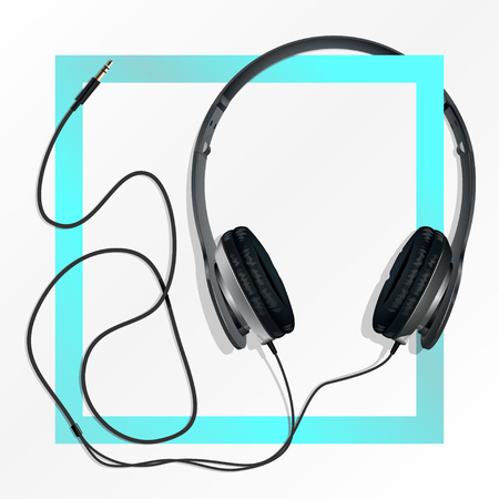 big earphones white in a blue square