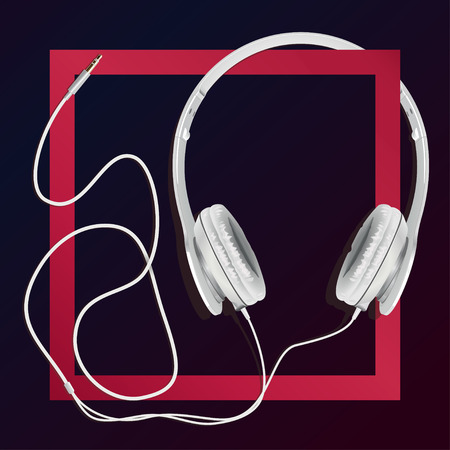 big earphones white in a red square