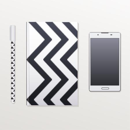 phone and notebook lying on a table Illusztráció