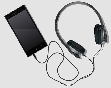 white-black phone with the switched-on earphones