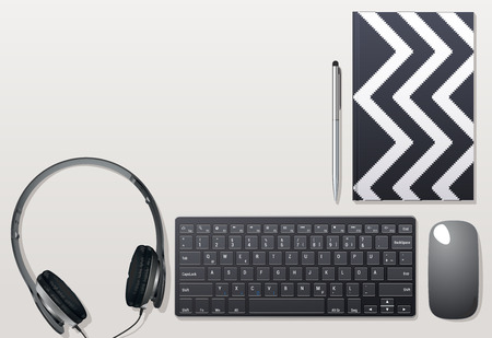 desk set from objects necessary for work