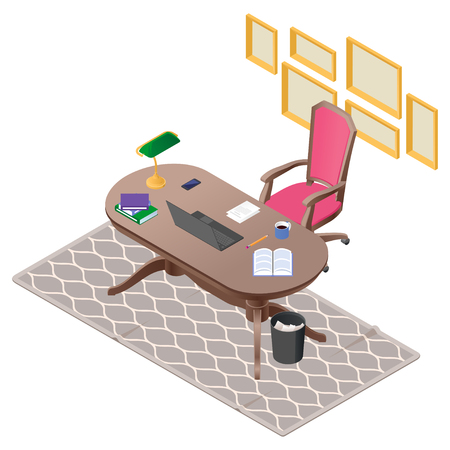 classical office workplace in color and in an isometry