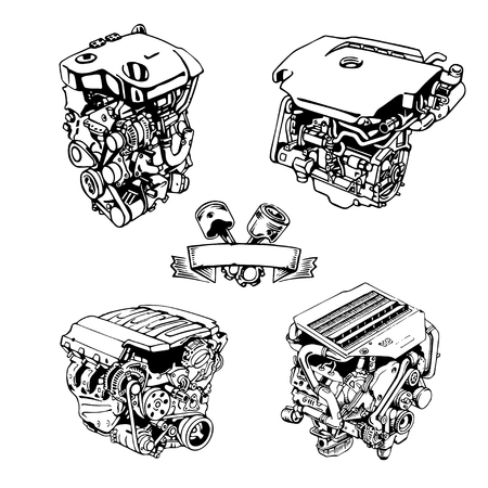 the drawn engine on a white background Illusztráció