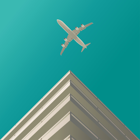 the flying plane in the blue sky