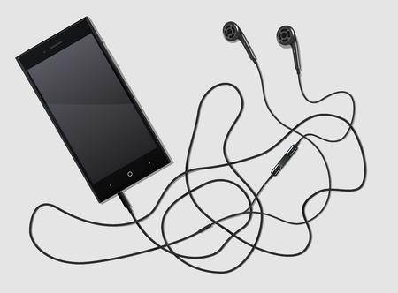 black phone with ultramodern earphones on a white background