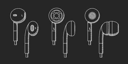 the drawing of earphones against the background of