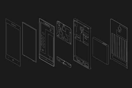 the disassembled phone against the background of Illusztráció
