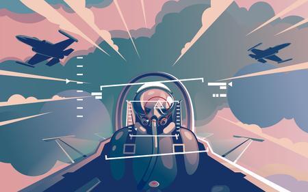 Look from within a cabin in flight Illusztráció