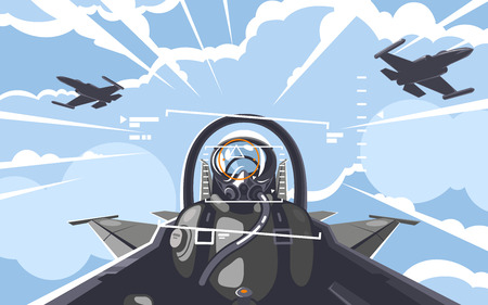 Look from within a cabin in flight Illustration