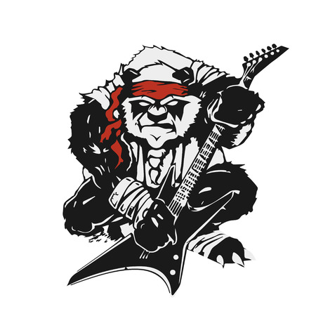 the angry stylized black panda with a guitar Illustration