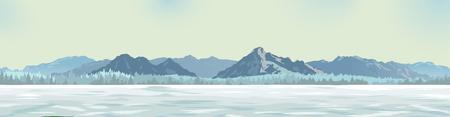 die zeichnung eines hintergrundes, weiße lichtung vor dem hintergrund der berge