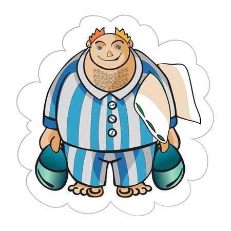 stout: El hombre fuerte tiene una almohada y zapatillas Vectores
