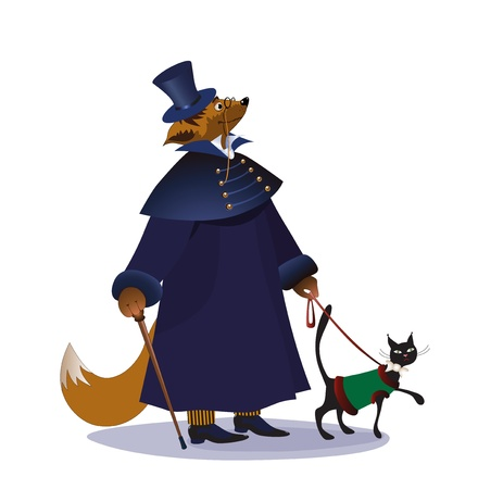 The gentleman of foxes walks with the house cat Vector