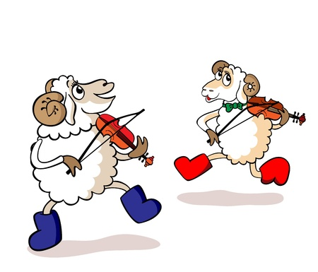 Two cheerful lambs play violins Vector