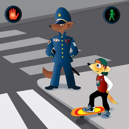 The policeman of foxes observes as the young fox with   a skateboard passes road Illustration