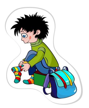 The boy puts on socks and gathers in school. Vektorové ilustrace