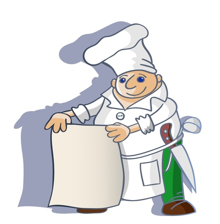 The cheerful cook holds a napkin on which it is possible to write the menu