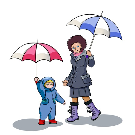 Mum and the son walk during a rain.