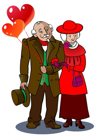 A loving elderly couple walks together, holding balloons in  the form of hearts