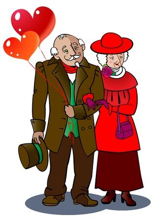 pensionado: Una pareja de ancianos cariñoso caminar juntos, con globos en forma de corazón Vectores