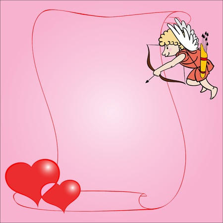 The cupid shoots from a bow in two hearts. All objects in separate layers, are radial gradients.