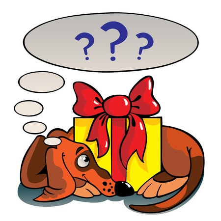 The dog lays around of a gift and thinks of it. Stock Vector - 12062442