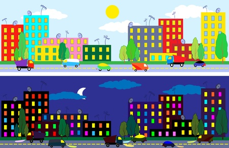 Cartoon city of night and day time , texture seamless Vector