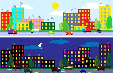 tag und nacht: Cartoon Stadt Tag und Nacht Zeit, Textur nahtlose Illustration