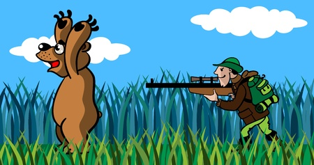 The hunter to aim  from a gun in the big bear, a cartoon.