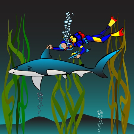 skindiver: The veterinary  the skin-diver does vaccination to a shark, cartoon picture.There are gradients.