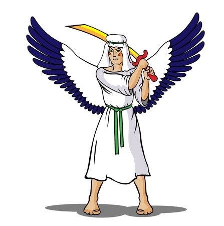 protection of the bible: There is a winged angel who holds a sword in his hands