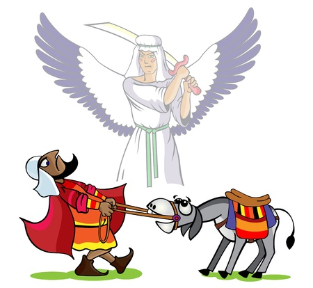 biblical: Prophet Velaam pulls a donkey, the divine angel has lifted  a sword over  his head Illustration