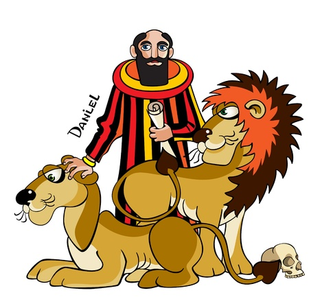 The Jewish prophet and wise man Daniel is in a ditch with lions cannibals, Bible illustration.