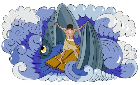 Fish (whale) swallows to the Jonah and Jonah resists to it. Illustration