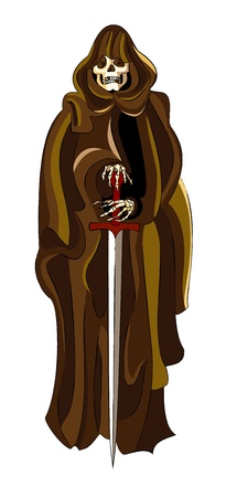 death angel: The death angel dressed in a brown raincoat holds a sword