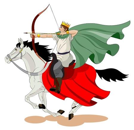 Gli uomini con una corona sulla sua testa va su un cavallo e spara da un arco.