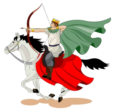 The men with a crown on his head goes on a horse and   shoots from a bow.
