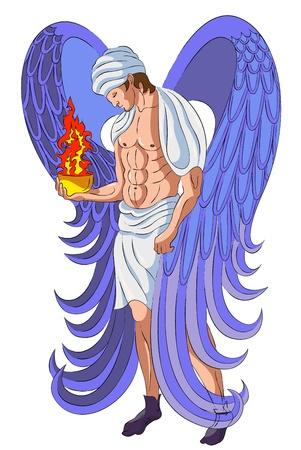 The angel holds a censer of anger of God
