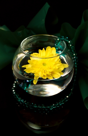 The flower of a yellow chrysanthemum in a glass vase is on a black mirror and an emerald necklace