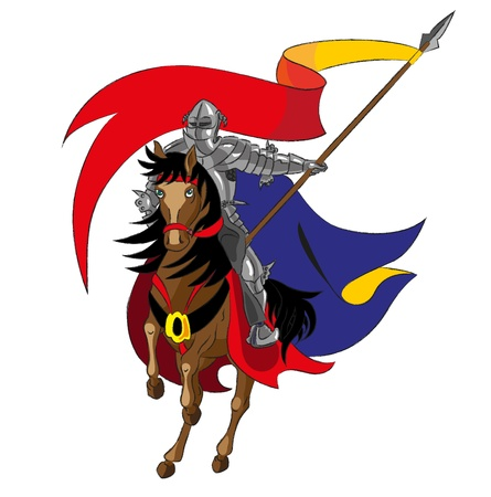 The knight on a horse holds a flag