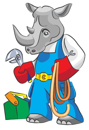 Cartoon rhinoceros is the plumber with an adjustable spanner and a hose, all layers separately, it is easy to change color and the size, gradients and transparency are not present Stock Vector - 18366468