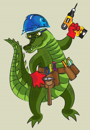 Happy crocodile having construction tools, all layers separately, it is easy to change color and the size, gradients and transparency are not present