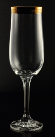 Transparent tall glass on a black background