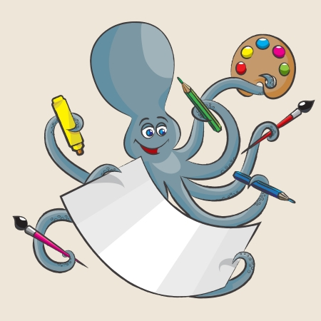 The cheerful octopus holds in all its arms of paint, a brush, pencils, markers and paper. Vector
