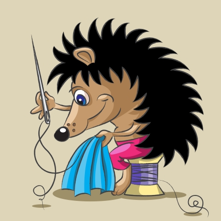 darn: The small hedgehog diligent to sew clothes with a needle and a thread